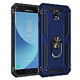 BestST Funda Samsung Galaxy J7 2017/J730 con Anillo Soporte, con HD Protector de Pantalla, Robusta Carcasa Híbrida TPU + PC de Doble Capa Anti-arañazos Caso para Samsung Galaxy J7 2017/J730,-Azul