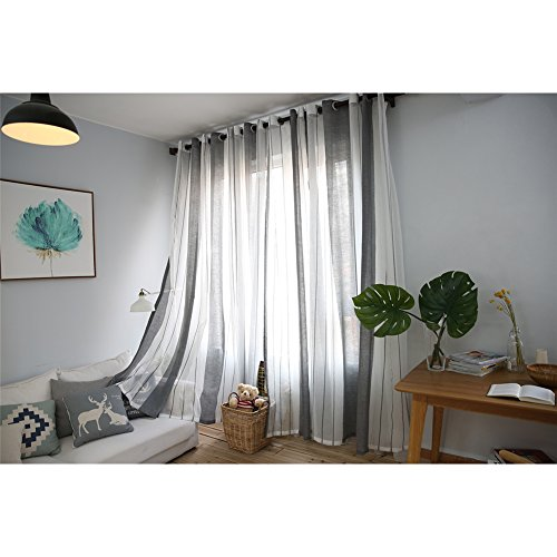 Ventana Cortinas visillos Cortinas Paneles para Sala Cuarto Dormitorio Comedor, Salon Cocina Cortinas de Lino, 100 x 250 cm (1 pcs cortina grises y blancas)