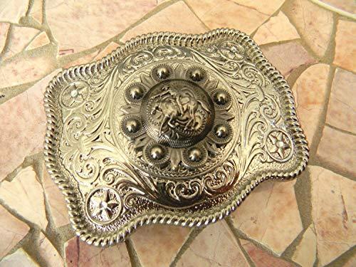 Horseback Riding Cowboy Silver Belt Buckle, Horse Buckle, Womens Mens Kids Western Concho