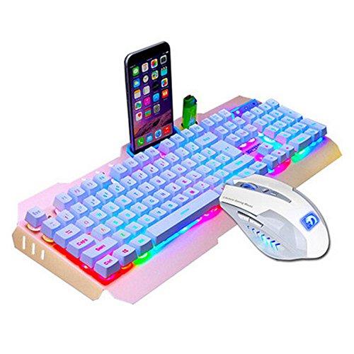 SUImeito Gaming Keyboard M938 Led Backlit USB Ergonomic Gaming Keyboard + Gamer Mouse Sets + Mouse Pad (Gold)