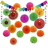 AirSMall 21PCS Decoración para fiestas, 6 abanicos de papel para colgar, 8 pompones de flores, 4 abanicos huecos de papel, 1 guirnalda de puntos y 1 banderines triangulares para cumpleaños, Halloween