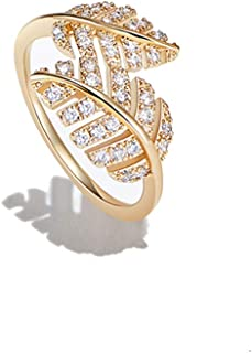 AGVANA Yellow Gold Filled Cubic Zirconia CZ Double Leaf Ring Chic Fashion Jewelry Gifts for Women Size 5 6 7 8