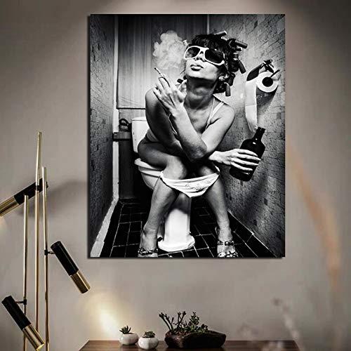 KWzEQ Nordisches Plakat Toilettenmädchen raucht Leinwanddrucke Wohnzimmer Hauptdekoration modernes Ölgemälde Poster,Rahmenlose Malerei,60x75cm