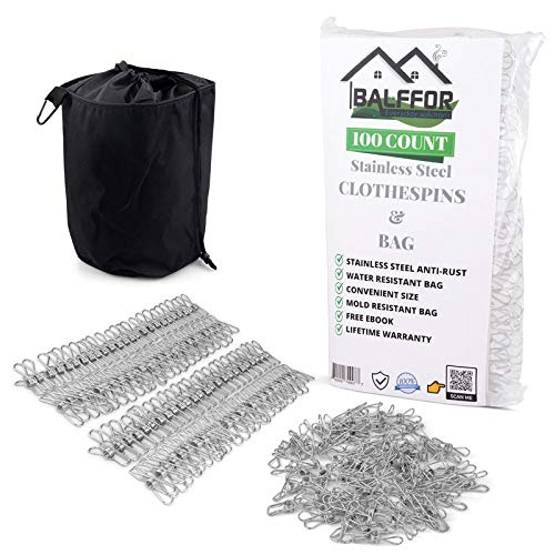 Balffor 100 Small Stainless Steel Clothespins Clothespin Bag - Metal Light Mini Clips in Bulk - Multi-Purpose Wire Utility Clothes Peg Laundry Pegs for Outdoor Clothesline Stainless Steel