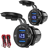 12V USB Outlet 2 Pack, Dual Quick Charge 3.0 12V Socket USB Charger with LED Voltmeter and Power Switch, Waterproof Aluminum Car Charger Adapter for RV Marine Motorcycle Truck Golf Cart RV etc.