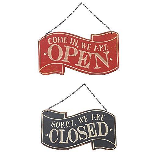 NIKKY HOME Holz Hängen Shop Zeichen Vintage Restaurant Dekoration Doppelseitiges Offen und Geschlossen