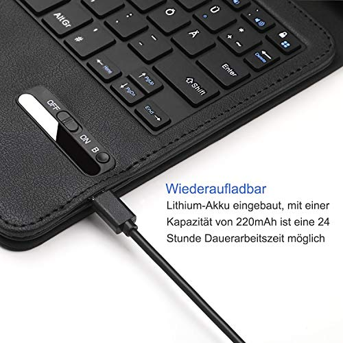 Jelly Comb Bluetooth Tastatur Hülle für Huawei MediaPad M3 Lite 10.1 Zoll, Kabellose Abnehmbare QWERTZ Tastatur mit Schützhülle für Huawei Android Tablet M3 25,6cm (10,1 Zoll), Schwarz - 6