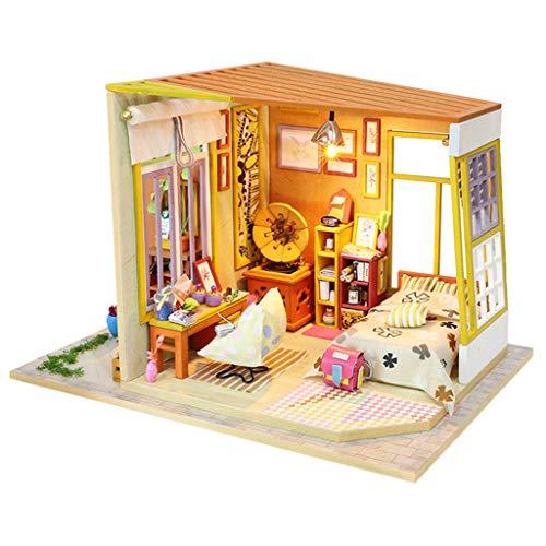 DIY Holz Haus Kit,Häuser für Minipuppen,DIY Miniatur Loft Puppenhaus Kit Realistische Mini 3D Holzhaus Zimmer Spielzeug mit Led-leuchten Staubschutz (B)