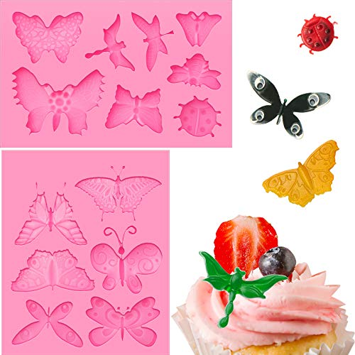 2 Pieces Butterfly Silicone Molds Mini Butterfly Fondant Cake Baking Mold Pink Chocolate Decorating Mold Cupcake Decoration Tool for Homemade Cake DIY Polymer Clay