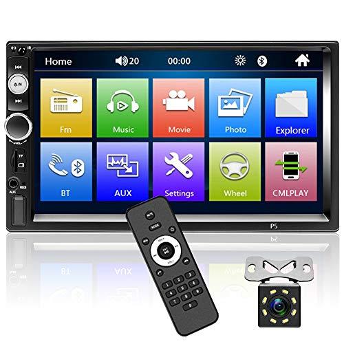 OiLiehu Doppio Din Bluetooth Autoradio 7 Pollici Touch Screen HD, Supporto Collegamento Specchio Funzione, Retromarcia Spegnimento Memoria + Videocamera Vista Posteriore + Telecomando(Senza Batteria)