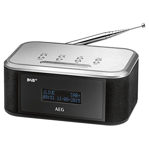 AEG MRC 4148 DAB+/UKW Stereo-Uhrenradio mit großem LCD-Display, AUX-IN, Datumanzeige, Senderspeicherfunktion und Weckfunktion schwarz/Silber