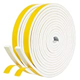 fowong White Closed Cell Door Weather Stripping 26 Feet, 1/2 Inch W X 1/4 Inch T, High Density Foam Tape Roll Neoprene Rubber Adhesive Weatherstrip Door Seal, Window Insulation, 2 Rolls X 13 Ft Each