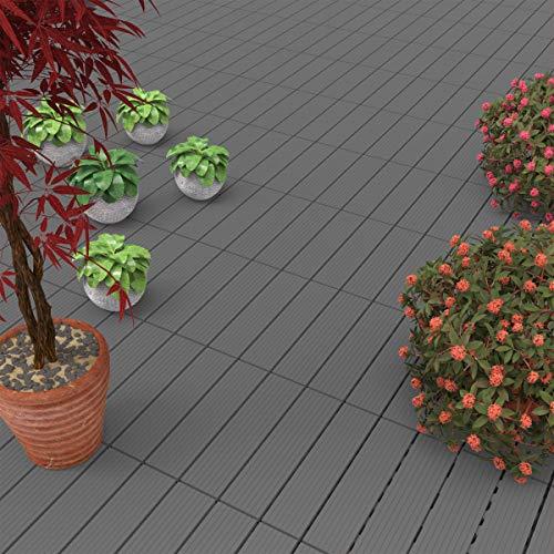 Pure Garden 50-LG1189 Patio and Deck Tiles – Interlocking Slat Pattern Outdoor Floor Pavers Weather Resistant and Anti-Slip Square DIY Mat (Dark Gray 6 Pcs),