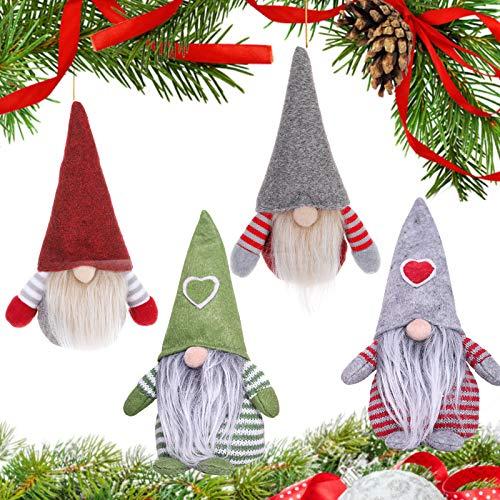 APERIL Adornos Navideños para Arbol GNOME, 4 Piezas Adornos de Navidad para Mesa Adornos de Peluche de árbol de Navidad Decoración Colgante de Navidad Navideñas Regalo Santa Tomte Enanos Escandinavos