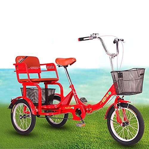 FGVDJ Triciclo Plegable para Adultos Bicicleta de Crucero de 16 Pulgadas Bicicleta...