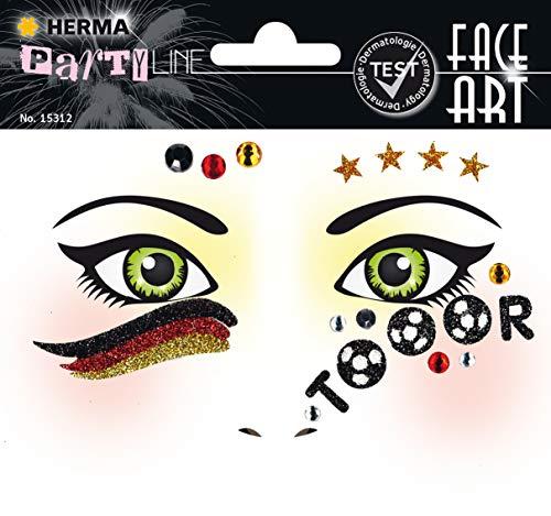 HERMA 15312 Face Art Gesicht Aufkleber Glitzer Sticker für Fasching, Karneval, Halloween, dermatologisch getestet, Deutschland