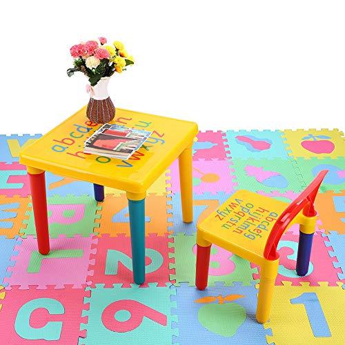 Greensen Kinder Tisch und Stühle Set Kindertisch mit Stühle Sitzgruppe Alphabetische Tisch Stühle für Kinder Bunt Kindermöbel Sitzgruppe Lernspiel Geschenk