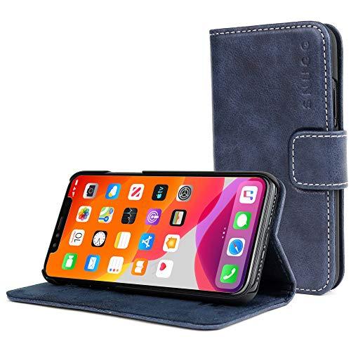 Snugg Schutzhülle für iPhone 11 (2019) – Etui aus Leder mit Kartenschlitzen und Ständer – Legacy-Kollektion, Flipcase, Handyhülle in Flussblau