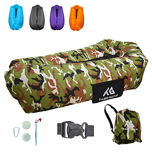 Taso Gear - Inflatable Lounger Air Sofa - Ideal for Camping Hiking Traveling Beach Picnic & Music Festivals - Waterproof Pouch Couch - Portable Hammock - Upgraded Anti-Air Leaking Design (Camo Green)