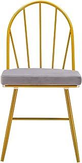 Juego de 4 sillas de comedor con respaldo de arco, sillas de hierro forjado, sillas de franela doradas, sillas de salón con patas de metal, barra de cocina, postres, tienda de comedor, cocina y hogar