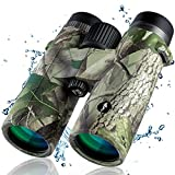 10x42 Binoculars for Adults - HD Professional IPX7 Waterproof Binoculars for Hunting with BAK4 Prism FMC Lens Compact Camo Binoculars for Bird Watching Hiking Sightseeing Travel Sports
