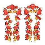 Guirnalda artificial de hojas de arce de otoño de 5.9 pies/pc de otoño de Acción de Gracias para colgar plantas, cosecha de otoño, corona de arce de temporada con 4 ganchos sin costuras