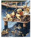 Kits de pintura por números Un grupo de perros y patos bromeando en el muelle costero para niños adultos 40X50CM-No Frame
