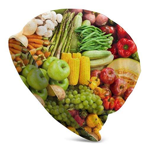 BOTAO Vegetales Comida Vegana Fruta Adultos Hombres Gorro de Punto Gorro Gorros Unisex para Adultos, Gorra, Pasamontañas, Medio pasamontañas Negro