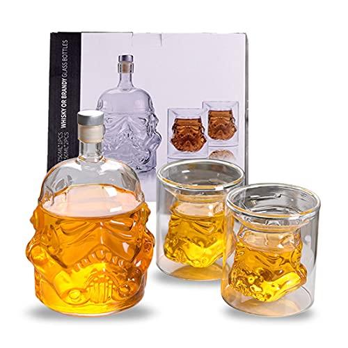 Juego de decantador de whisky elegante decantador de vino con tapón de sellado equipado con 2 copas de vino (5 onzas) hechas de 100% de vidrio apto para whisky, bourbon, brandy, guice, etc