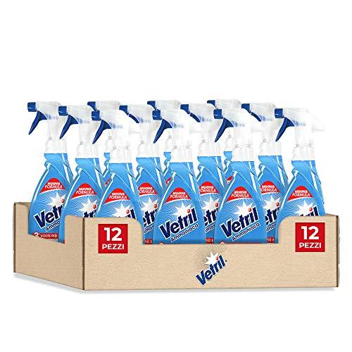 Vetril Detergente Spray Superfici con Ammoniaca, Azione Sgrassante e Brillantezza Senza Aloni, 650 ml x 12 pezzi