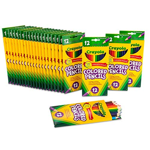 Crayola Bulk Colored Pencils, Pre-sharpened, 12 Assorted Colors, Pack of 24