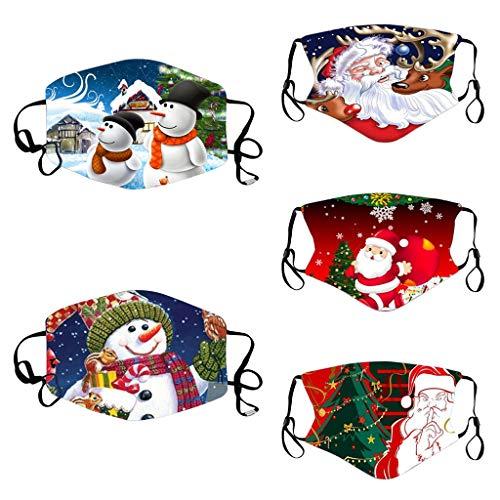 Kviklo - Bandana de Navidad para la cara, lavable y reutilizable a prueba de polvo, 5 unidades con lazo ajustable para los oídos para hombres y mujeres (O)