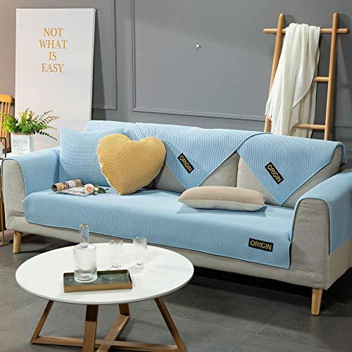 YUTJK Cubierta de sofá de Estera de Verano Transpirable,Funda Universal para Sofá Antideslizante,Funda para Toalla de Sofá,Protector para Muebles,Acolchado de Felpa,Azul_110×110cm