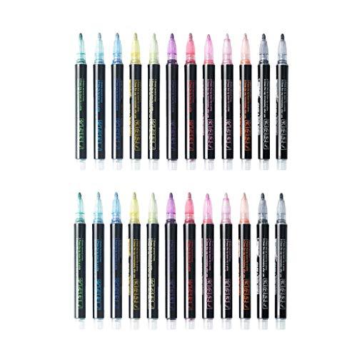 oshhni 24 Piezas de Rotulador de Color con Purpurina, Acuarelas, Pincel, Bolígrafos, Lápices