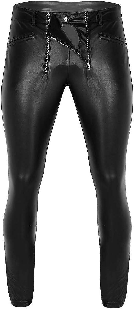 Loloda Men's Wet Look Faux Leather Muscle Tights Skinny Pants Night Club Leggings Long Trousers