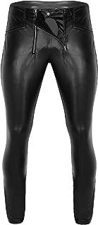 TiaoBug Men's Fashion PVC Leather Pants Zipper Pouch Trousers Nigth Club