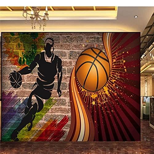 Papel tapiz personalizado 3D Canasta Fondo de ladrillo Papel tapiz Gimnasio Restaurante Pasillo Mural Papel Para Pared