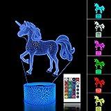 Einhorn 3D Nachtlicht Projektion LED Lampe Baby Kindergarten Nachtlicht für Kinderzimmer Home Decor Weihnachten Geburtstag Geschenke mit 7 Farbwechsel (Unicorn 3)
