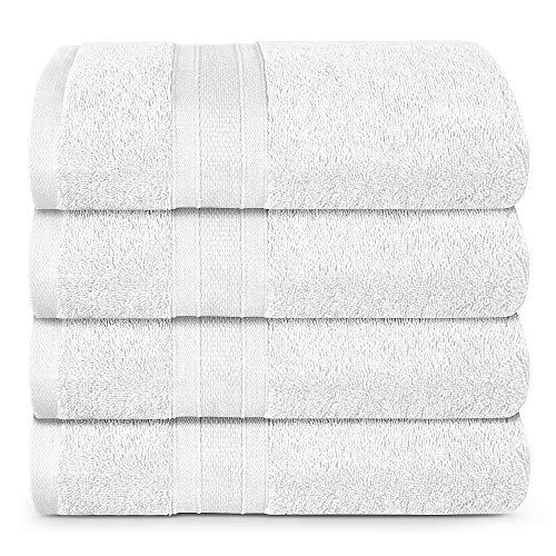 TRIDENT White Towel Set, 4 Piece Bathroom Towels, 100% Cotton, Highly Absorbent Large Bath Towels Set, Super Soft, Luxury White Towels for Bathroom, Soft and Plush, 500 GSM (White)