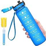 Favofit 1 Litro Botella de agua deportiva con marcador de tiempo motivacional, filtro de infusor de frutas y cepillo de limpieza, a prueba de fugas, plástico Tritan sin BPA, Azul