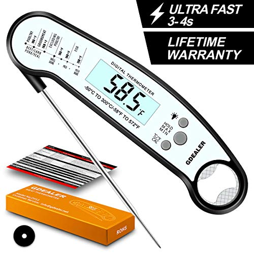 GDEALER DT13 Digital Waterproof Instant Read Meat Thermometer