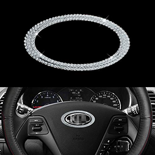 LHEVEN Bling Bling Car Steering Wheel Decorative Diamond Crystal Decal Decoration Cover Sticker Compatible with KIA Accessories,DIY Bling Car Steering Wheel Emblem