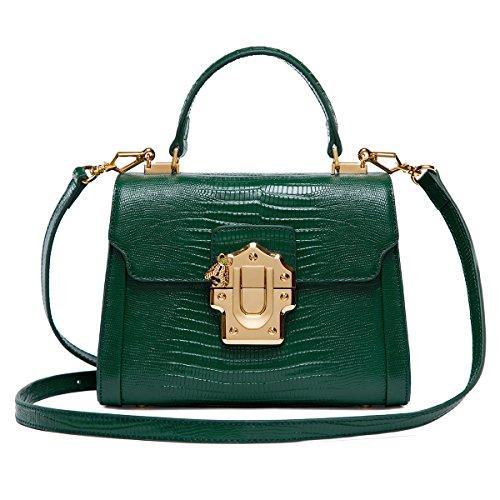 LA'FESTIN Cross body Leather Tote Bags for Women Green Shoulder Purses Medium