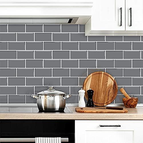 Cenefas Adhesivas Cocina Azulejos Patrón De Ladrillo Gris De Lujo Vinilos Ba?o Azulejos Vinilos Pared Cocina Baño Cocina Azulejos Decorativos Adhesivos DIY Mueble12P,13cm x 30cm
