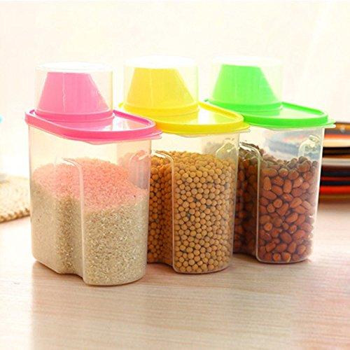 1 recipiente de almacenamiento para cereales – mantiene los alimentos secos – ideal para harina, azúcar y más – dispensador, 1,9 L, plástico, azul, 21x16x8cm