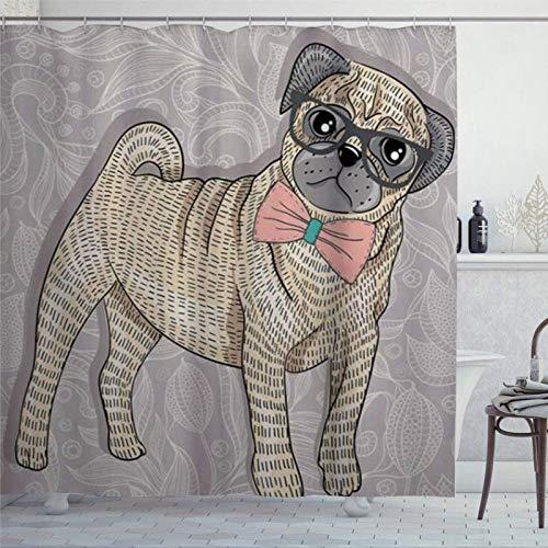 BYRON HOYLE Hipster Pug con gafas Nerdy y pajarita de dibujos animados divertidas cortinas de ducha para baño cortina de ducha con ganchos cortinas de baño de poliéster 183 x 183 cm fc376