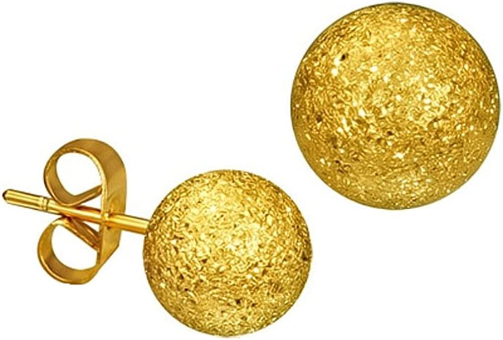 Gold-tone Stainless Steel Stardust Sandblasted Bead Ball Stud Earrings 8mm