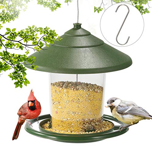 SUTINE Squirrel Proof Bird Feeders for Outside, Bird Feeder for Outdoors Hanging, Heavy Plastic Seed Feeder for Garden Yard Decoration, 2 lbs Capacity , with S Hook