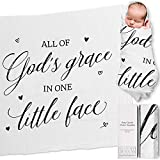 """Ocean Drop 100% Cotton Muslin Swaddle Baby Blanket – 'God's Grace' Quote with Gift Box for Baptism, Christening Gift, Godson, Goddaughter, Neutral, Baby Shower – Super Soft, Breathable, Large """"47x47"""""""