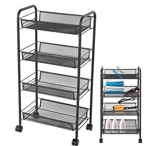 Kapperswagen werkwagen 4 niveaus wielen keuken metaal trolley winkelmandje schoonheid kapsalon magazijnrek zwart